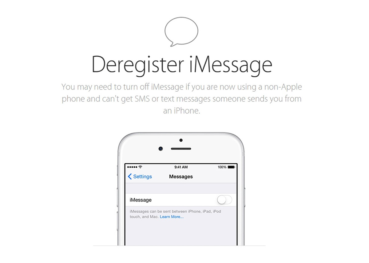 Новая функция Deregister iMessage