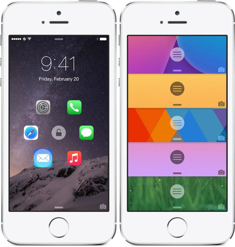 Atom экран блокировки для iOS 8