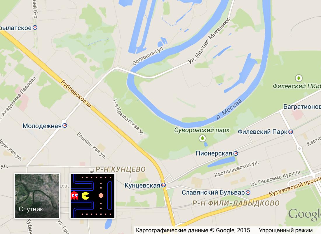 Pac Man играет на картах Google