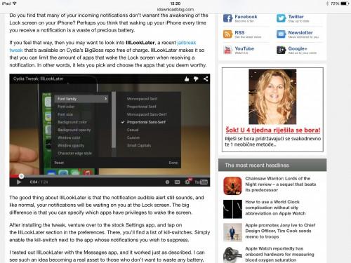 YouTube отключил полноэкранный режим на iPad