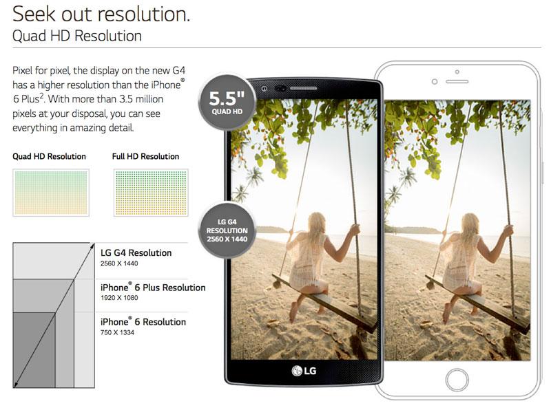 LG рассказала почему их G4 лучше iPhone
