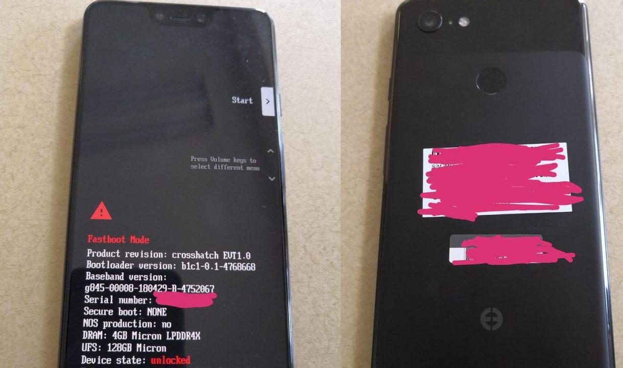 Появились фотографии прототипа Google Pixel 3 XL